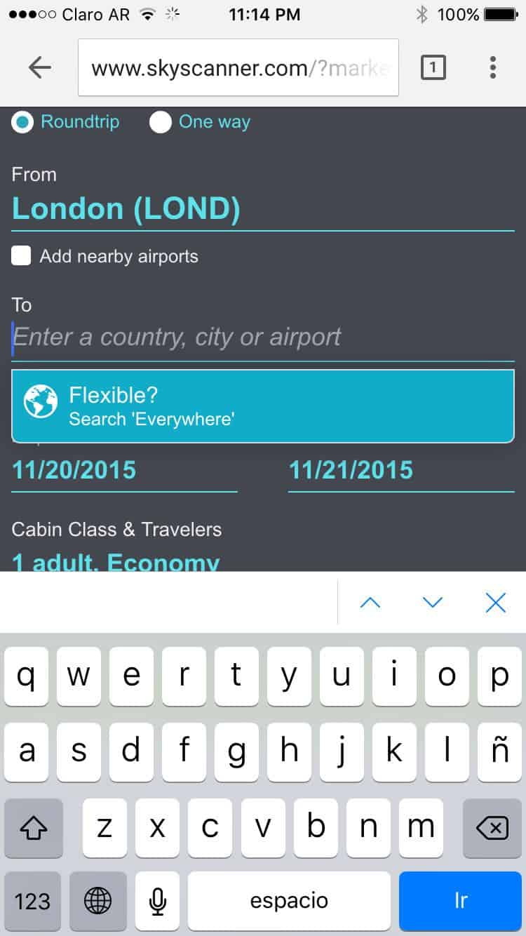 Skyscanner mobile website flight search form optimized to capture mobile user input