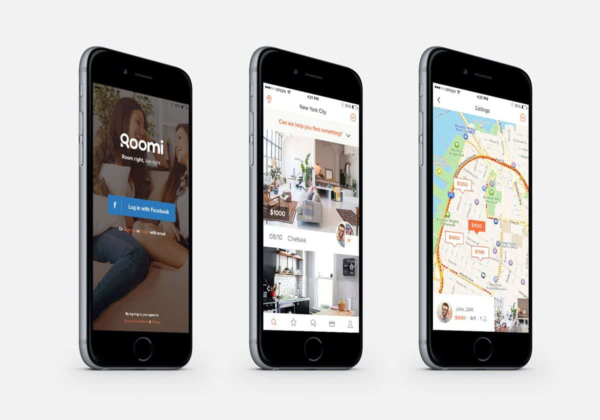 Three smartphones display three separate screenshots of the Roomi app, including the login page, a photo of an apartment and a map view.