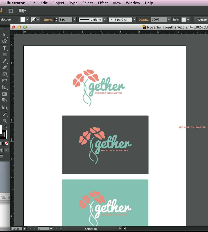 A screenshot of an Omega Ortega / Vertical Play designer's Adobe Illustrator file, working on image assets for a digital app prototype.