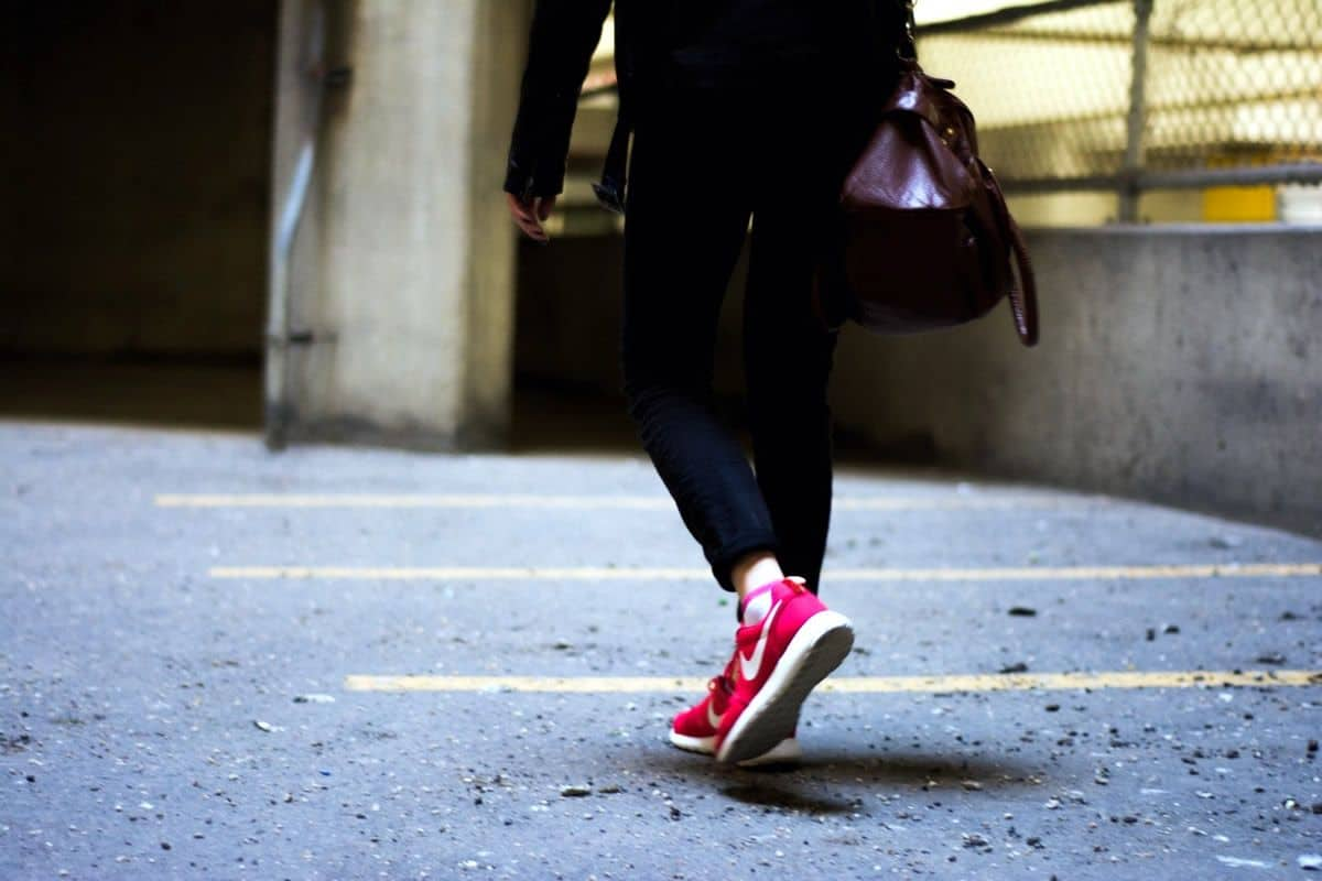 Close up on walking woman's lower body. Going for a walk is a great way to seek design inspiration.