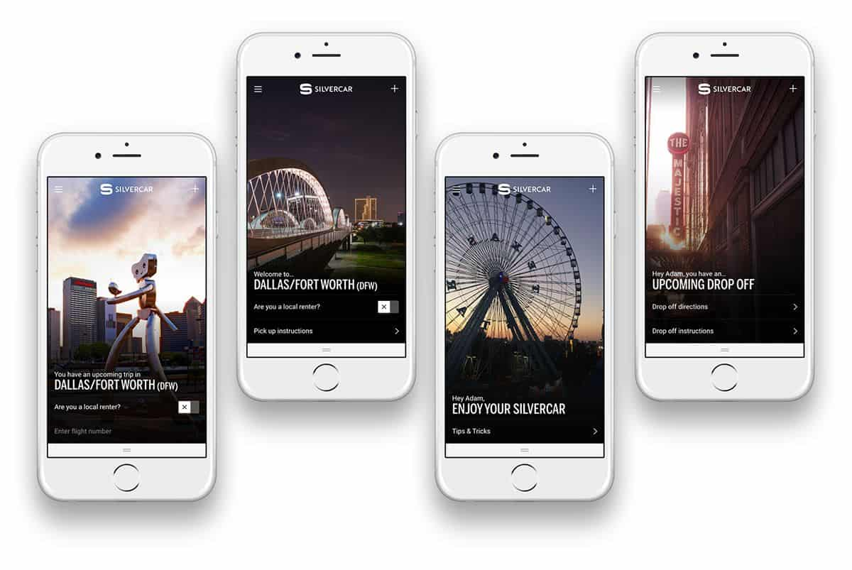 Four phone illustrations displaying images of a mobile app, with large photographs and sparse, but beautifully laid out copy.
