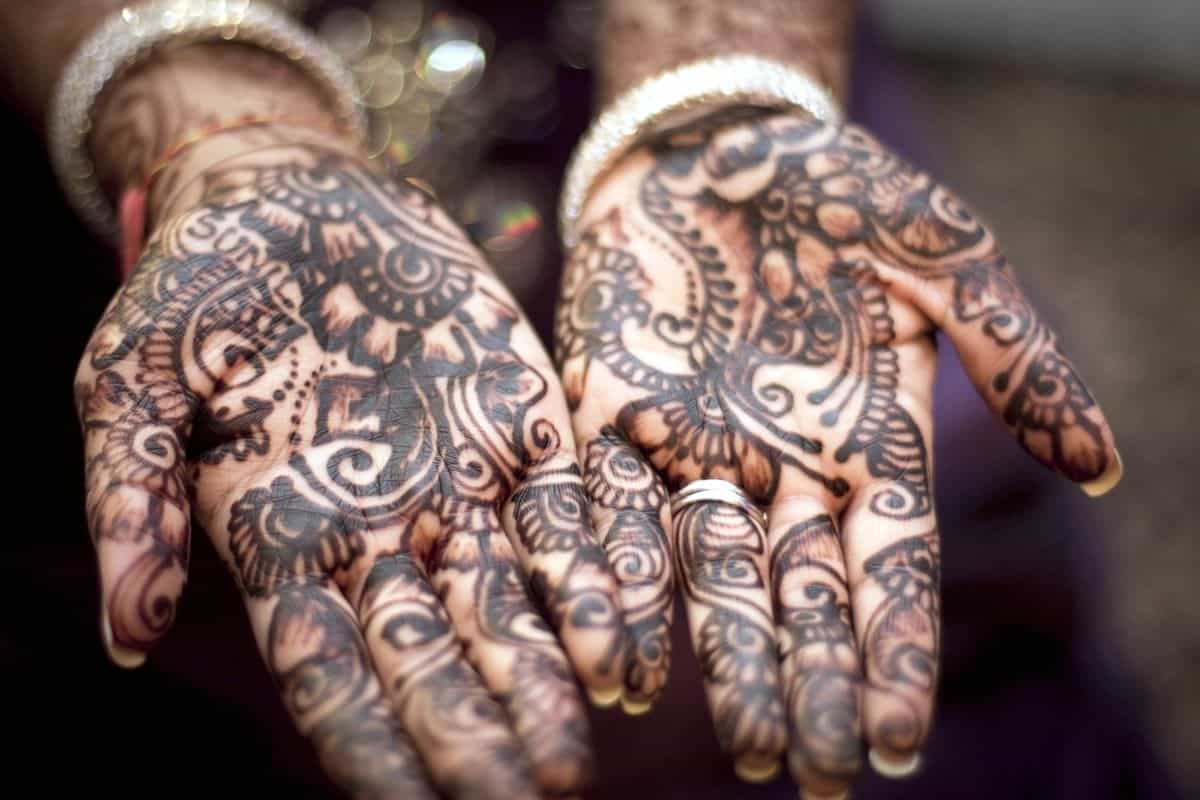 Up close image of henna hand painting, an example of design inspiration of any sort.