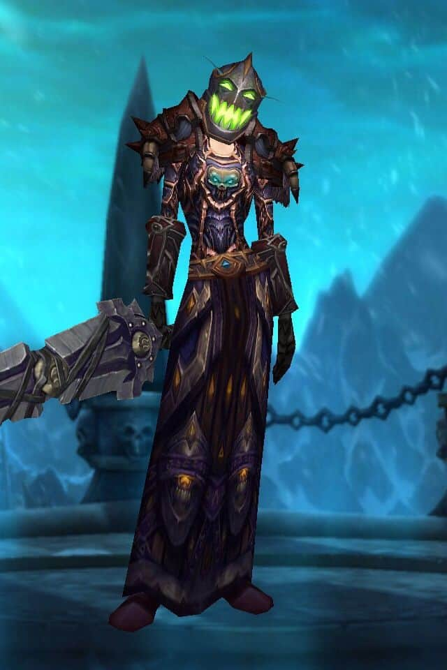 A screenshot of a Death Knight Blood Elf character screen from World of Warcraft.
