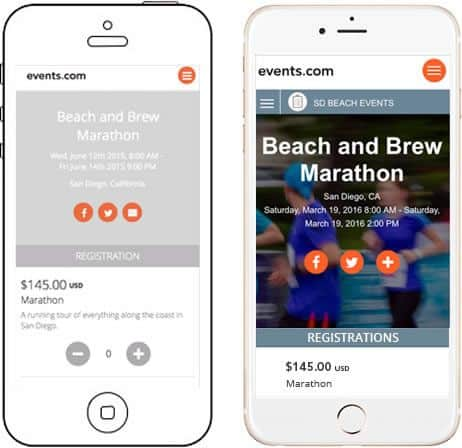 Two illustrated smartphones show two different prototype screens for the Events.com app.
