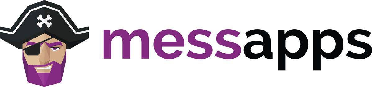 The Messapps logotype, next to the logo illustration of a geometric pirate with a purple beard.