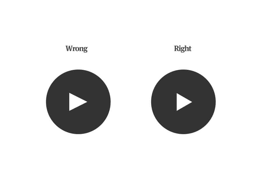 An illustration of two different black and white play buttons. On the left, the center triangle appears to be out of balanced, while the right play button looks well-balanced and centered.