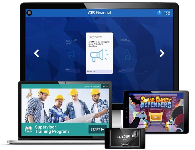 A desktop screen, laptop, tablet and smartphone display various mobile and web app UI designs from Rocketfuel Productions.