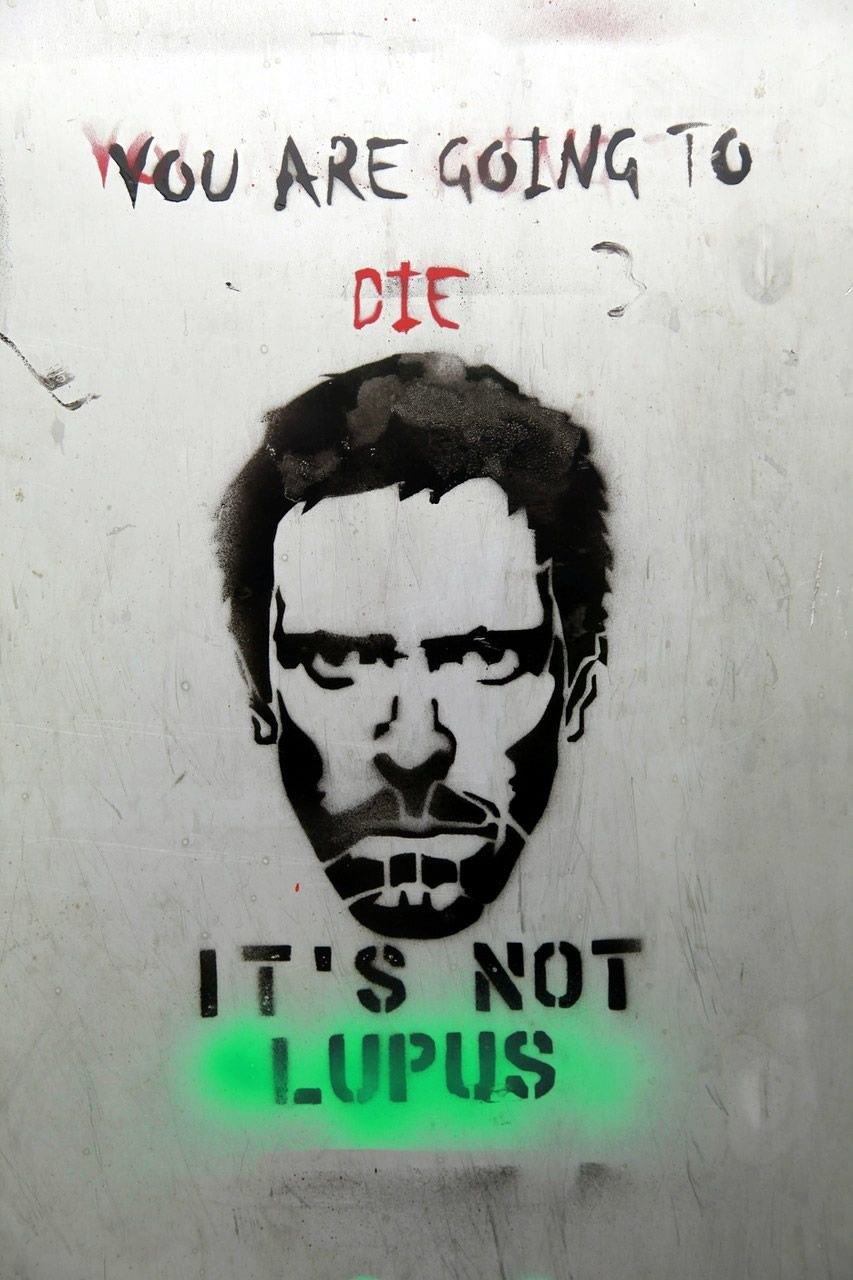 "A street art of the main character Dr House from American TV series House by Fox. The text says ""You are going to die, it's not Lupus."""