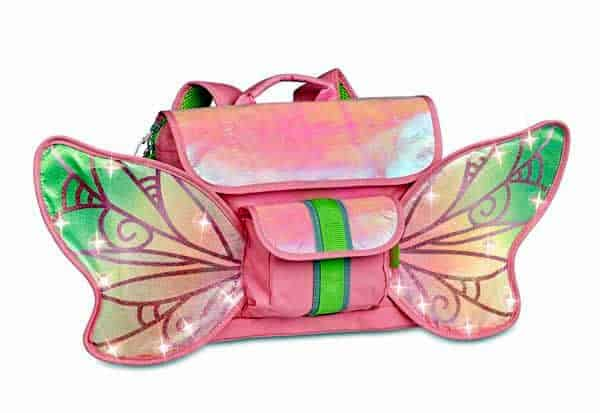 A photo of a pink and green Bixbee backpack with sparkling fairy wings.