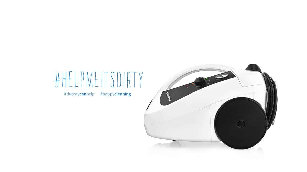 A photo of a Dupray steam cleaner with the hashtags #helpmeitsdirty, #dupraycanhelp and #happycleaning.
