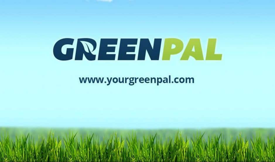 The GreenPal logo superimposed on a photo of a grassy lawn, over the URL www.yourgreenpal.com.