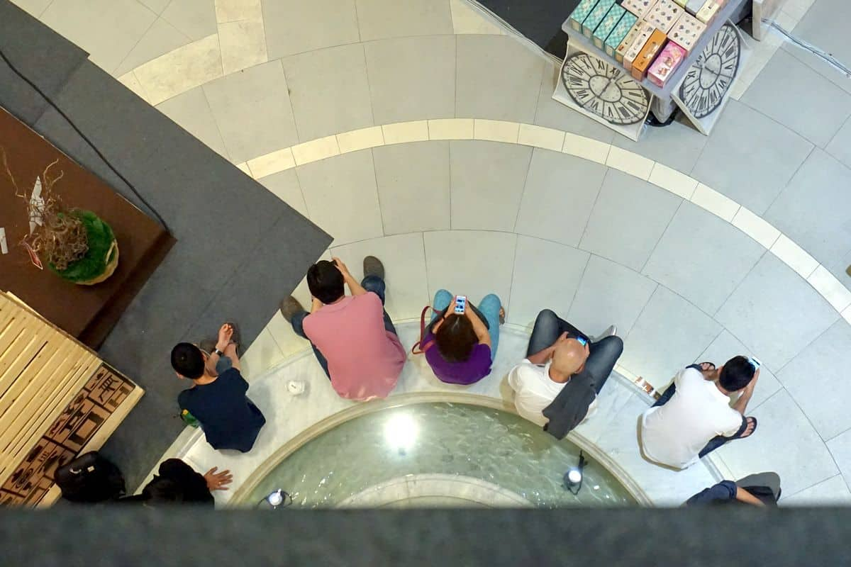 An overhead photo of a team of people sitting at the edge of a fountain, cell phones in hand.