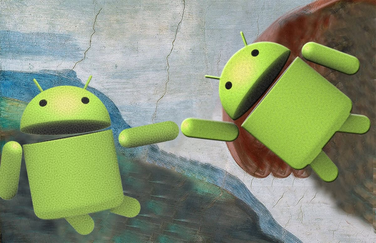 A parody of Michelangelo's The Creation of Adam, but with one Android mascot reaching out to touch another Android.