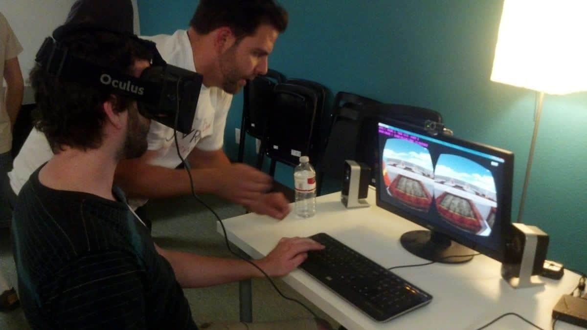 Two UX designers experiment with an Oculus Rift experience.