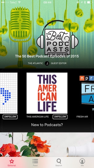 Screenshot of Aurora podcasting app on iPhone.