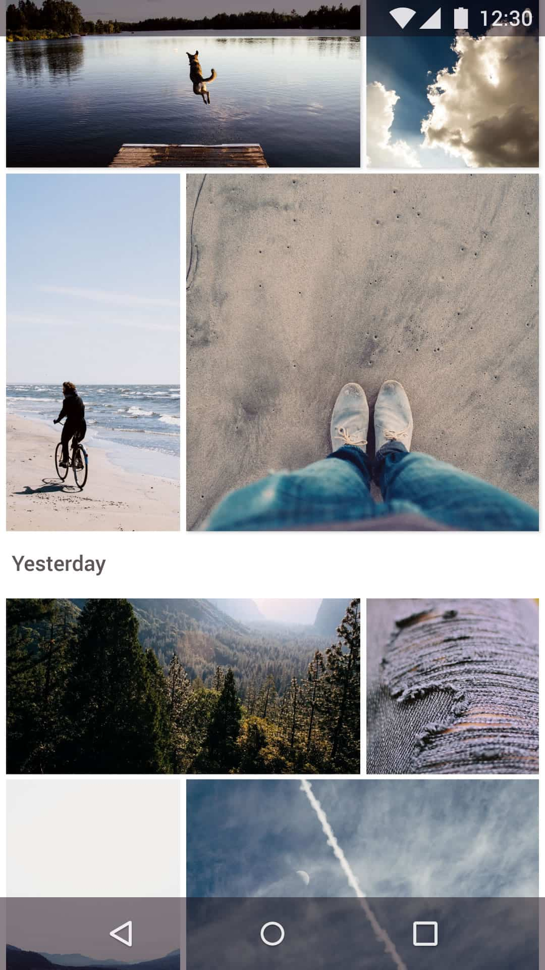 Beautiful mobile UI of Google Photos app redesign concept.