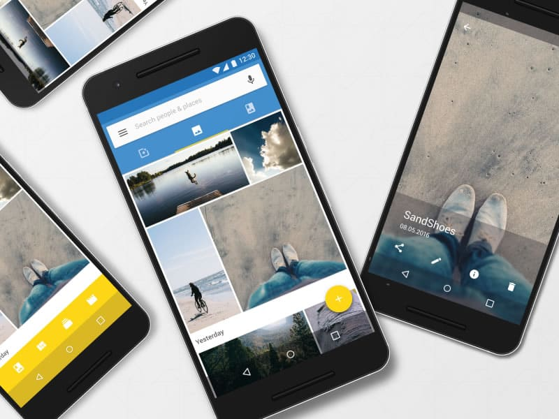 Compiled screenshots of Google Photos app redesign concept by Florian Schulte.
