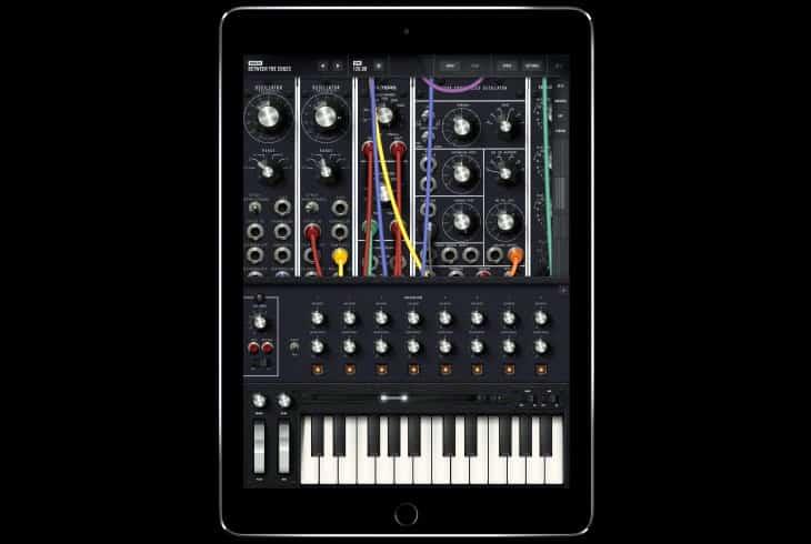 Model 15 app by Moog Music on an iPad in portrait mode.