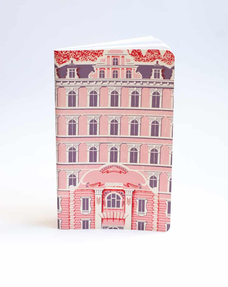 Notebook cover bearing the main poster of Wes Anderson's film, Grand Hotel Budapest.