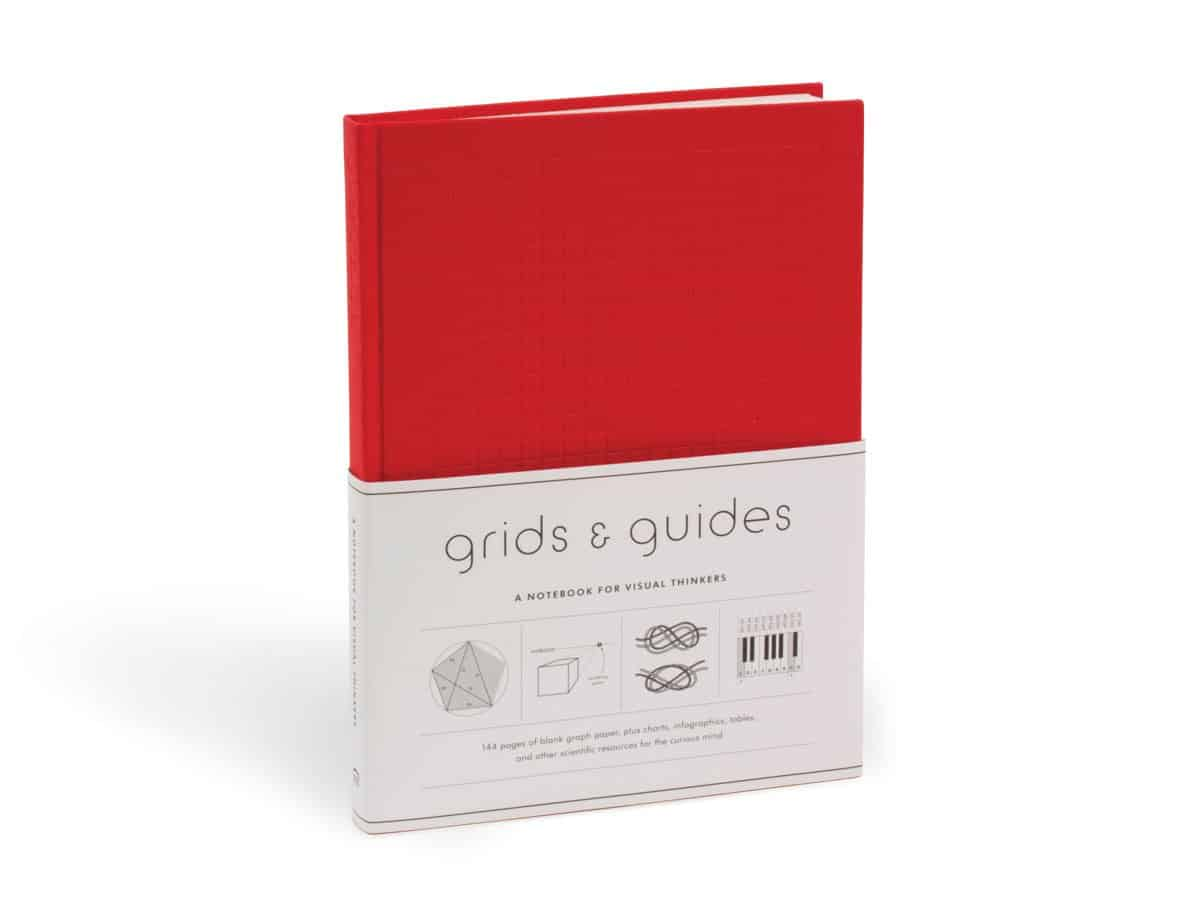 Red version of Grids and Guides notebooks for designers.