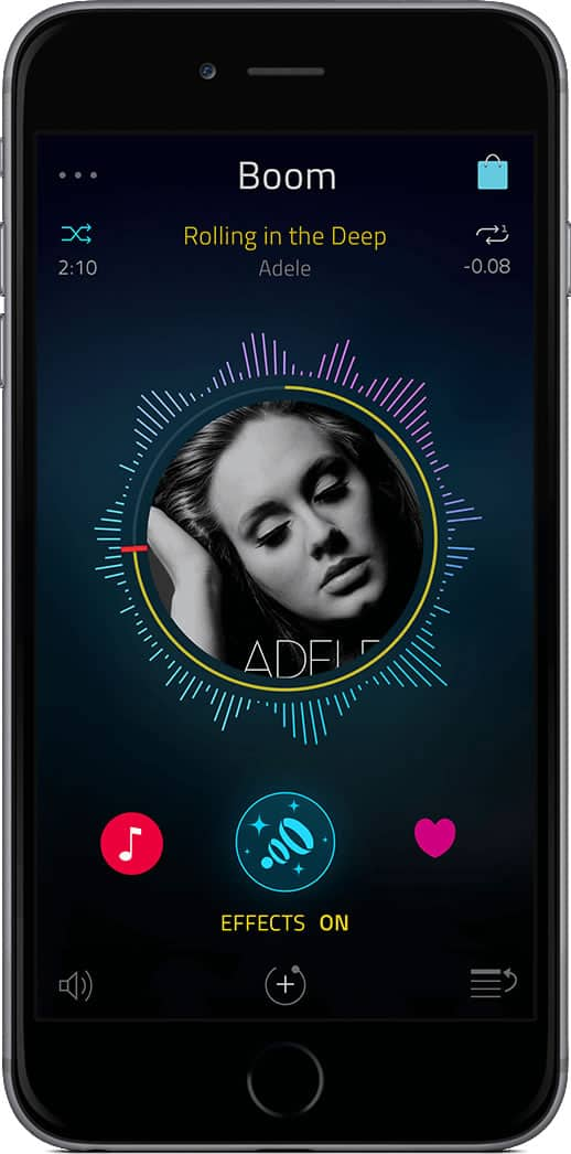 Screenshot of Boom app playing a song by Adele on black iPhone.