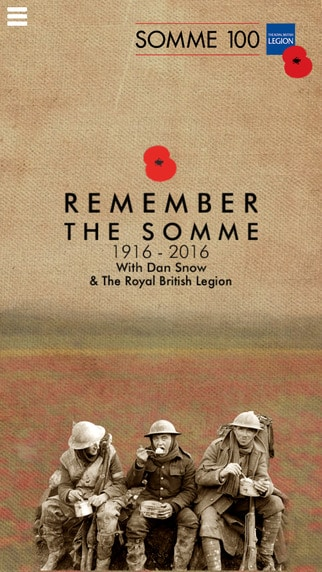 Home screen of the beautifully designed app Somme 100 by Dan Snow and The Royal British Legion.