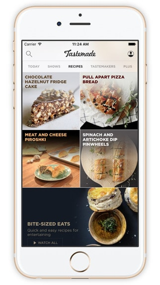 Screenshot of beautifully designed app Tastemade on iPhone.