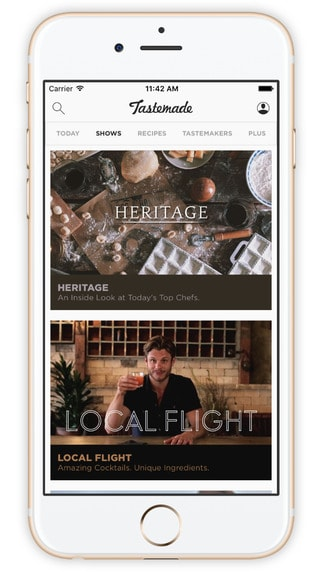 A peek into the beautifully designed app Tastemade on iPhone.