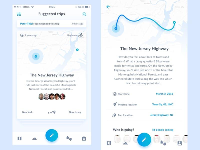 Biking app UI design by Platform, a digital agency founded by designer Lukas Horak.