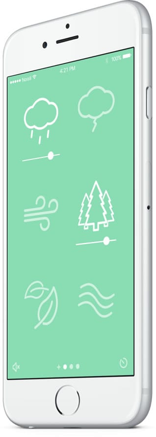 Screenshot of Noisli app for iOS - productivity apps for the scatterbrained among us.
