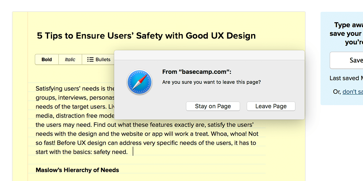 Screenshot of Basecamp alert prompting the user to confirm navigating away from the page.