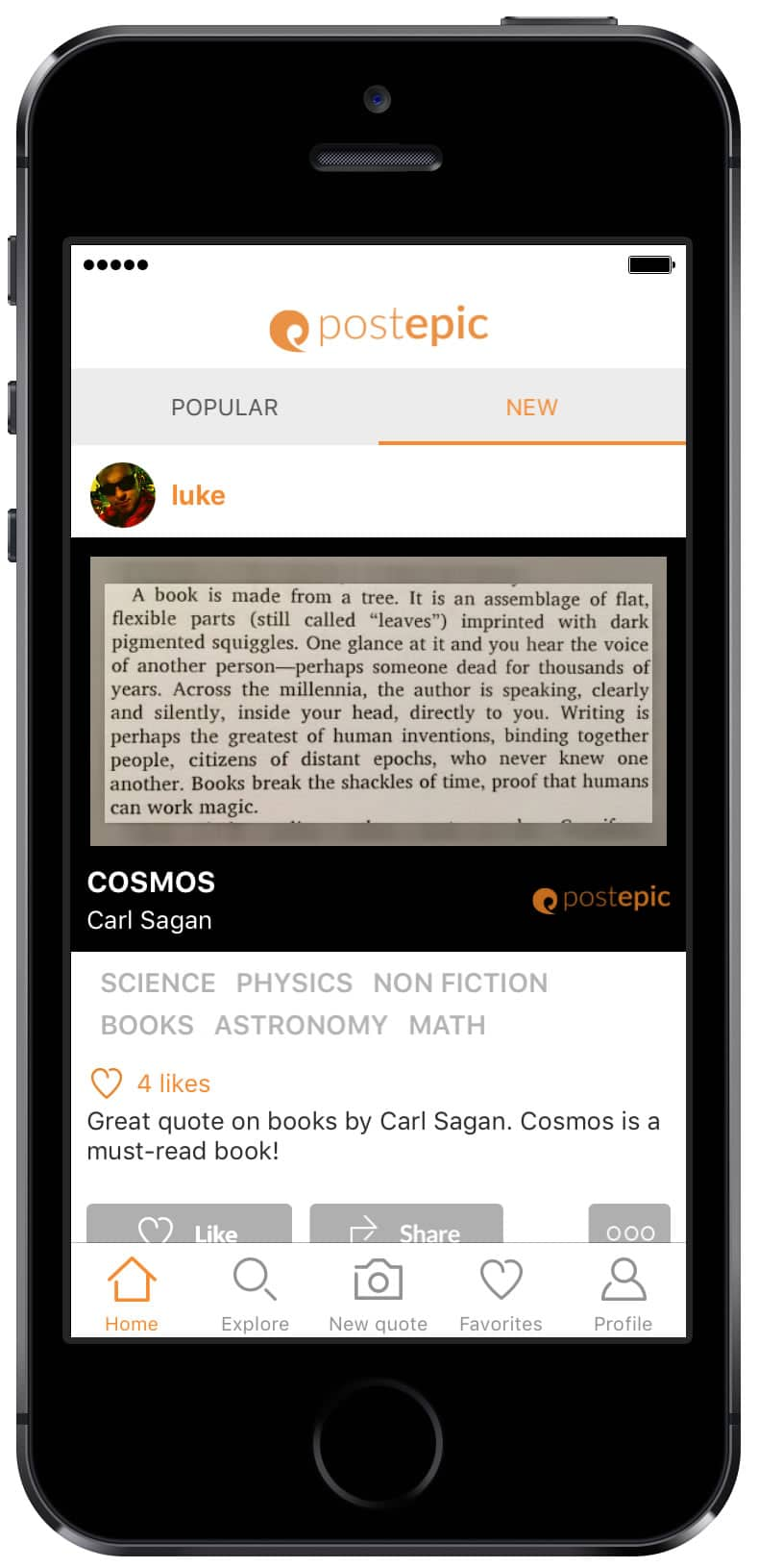 Beautiful mobile app designs by Postepic, an app to capture and store your favorite quotes from books.