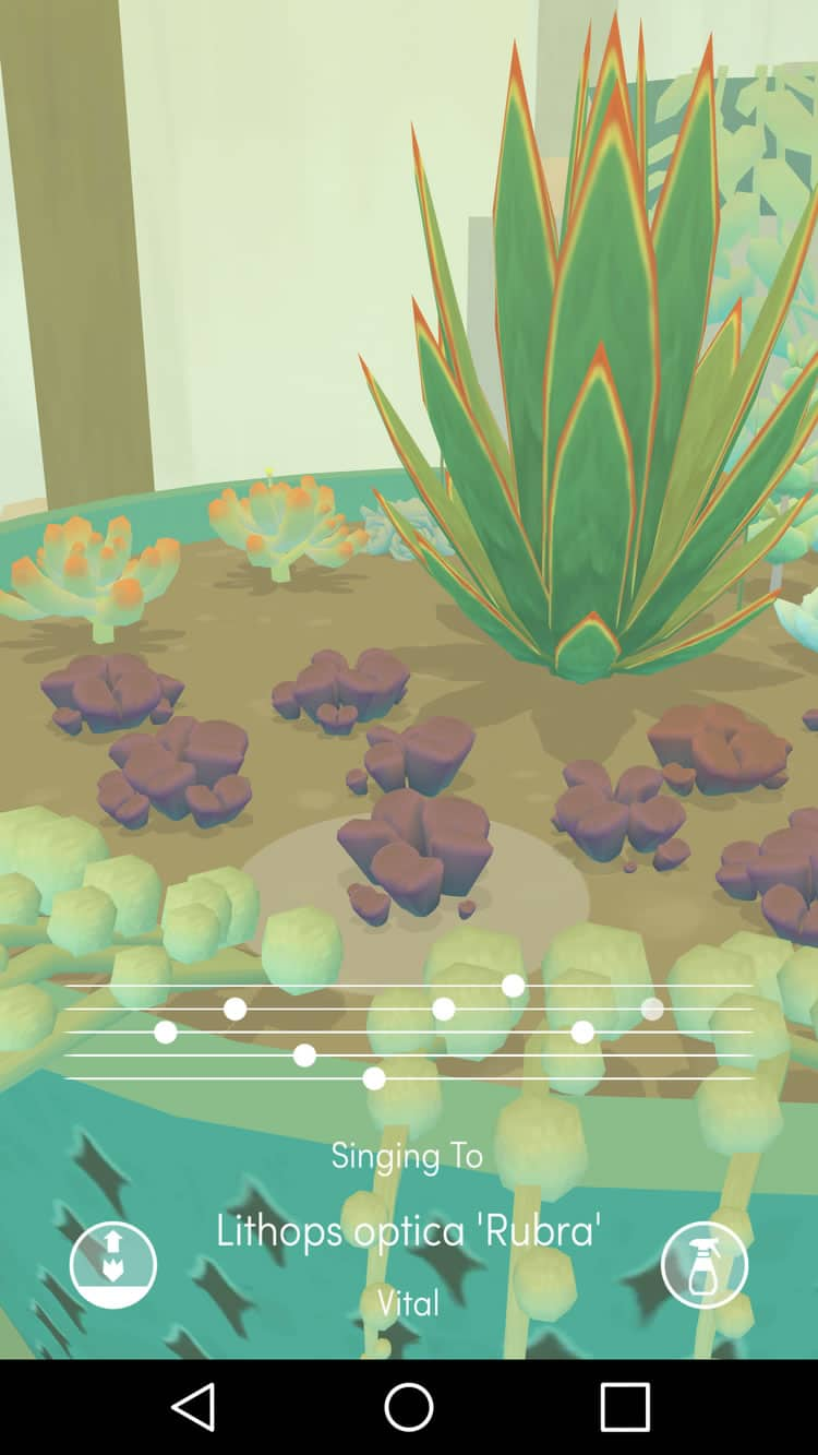 Beautiful mobile app designs by Viridi, a meditative app to virtually grow potted plants.