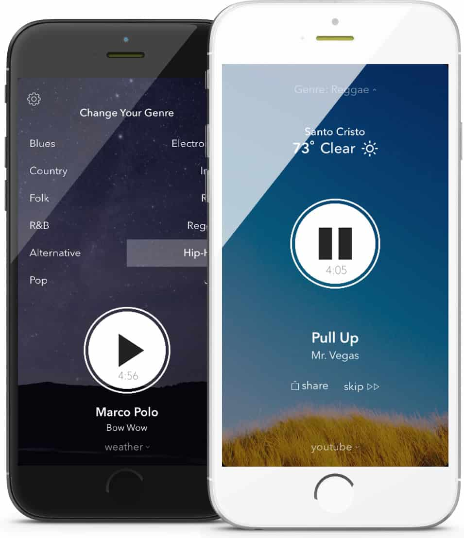 Screenshots of weatherTunes on iPhone, an app that promotes user engagement with good design.