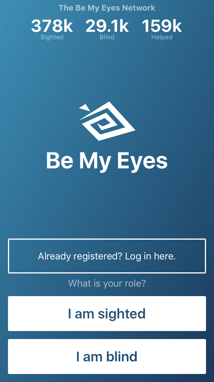 Screenshot of the home screen for the mobile app Be My Eyes