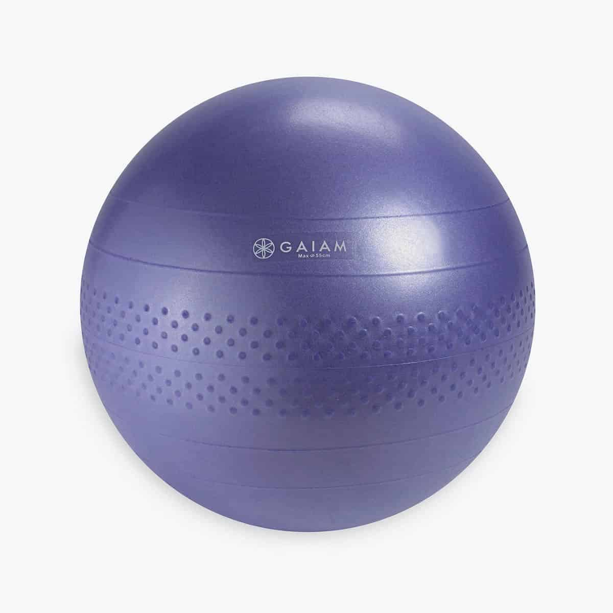 A picture of a purple balance ball.