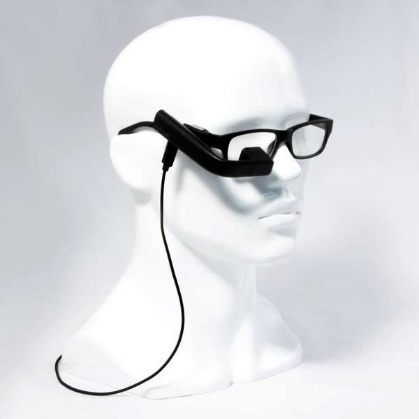 A photo of a mannequin head wearing a black Vufine mounted on a pair of glasses.