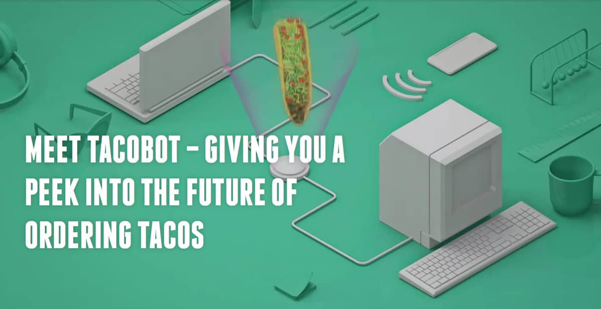 A screenshot of Taco Bell's desktop site and chatbot feature.