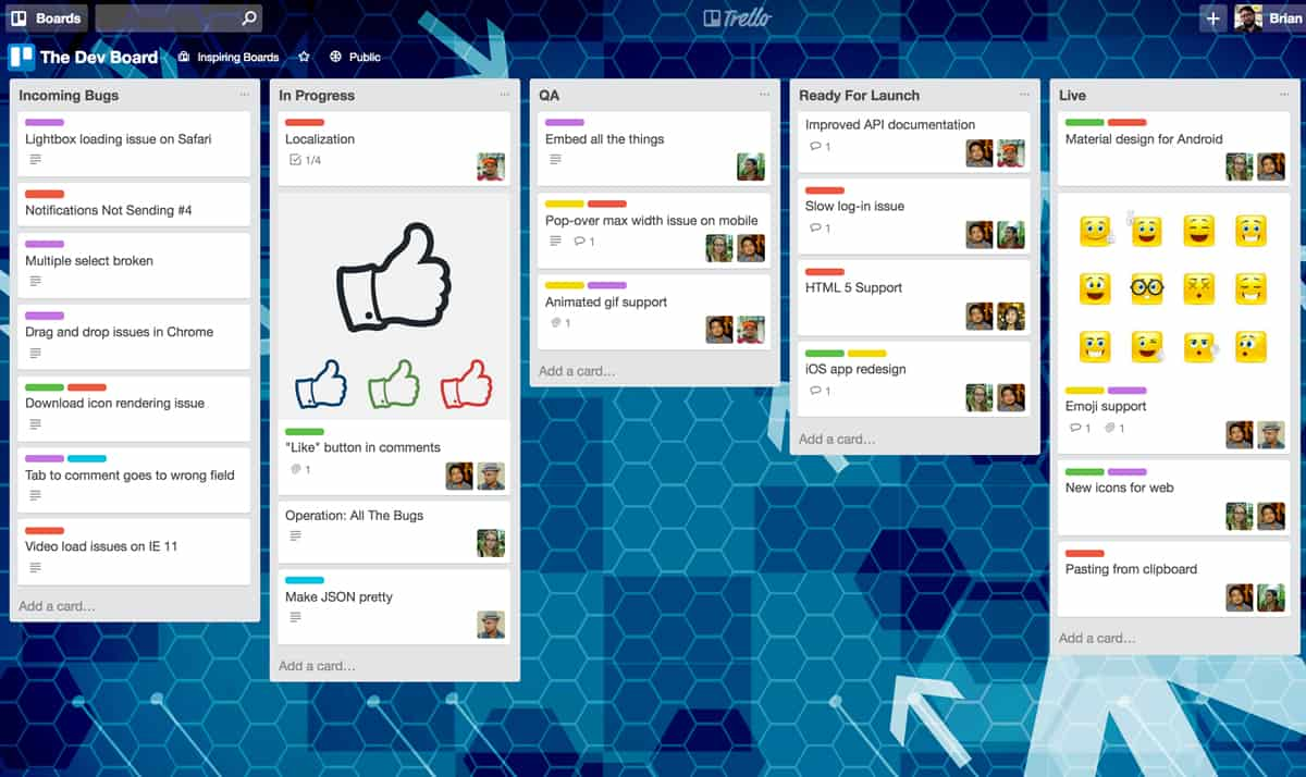 A screenshot of a Trello Board for a product development team with five cards on it.