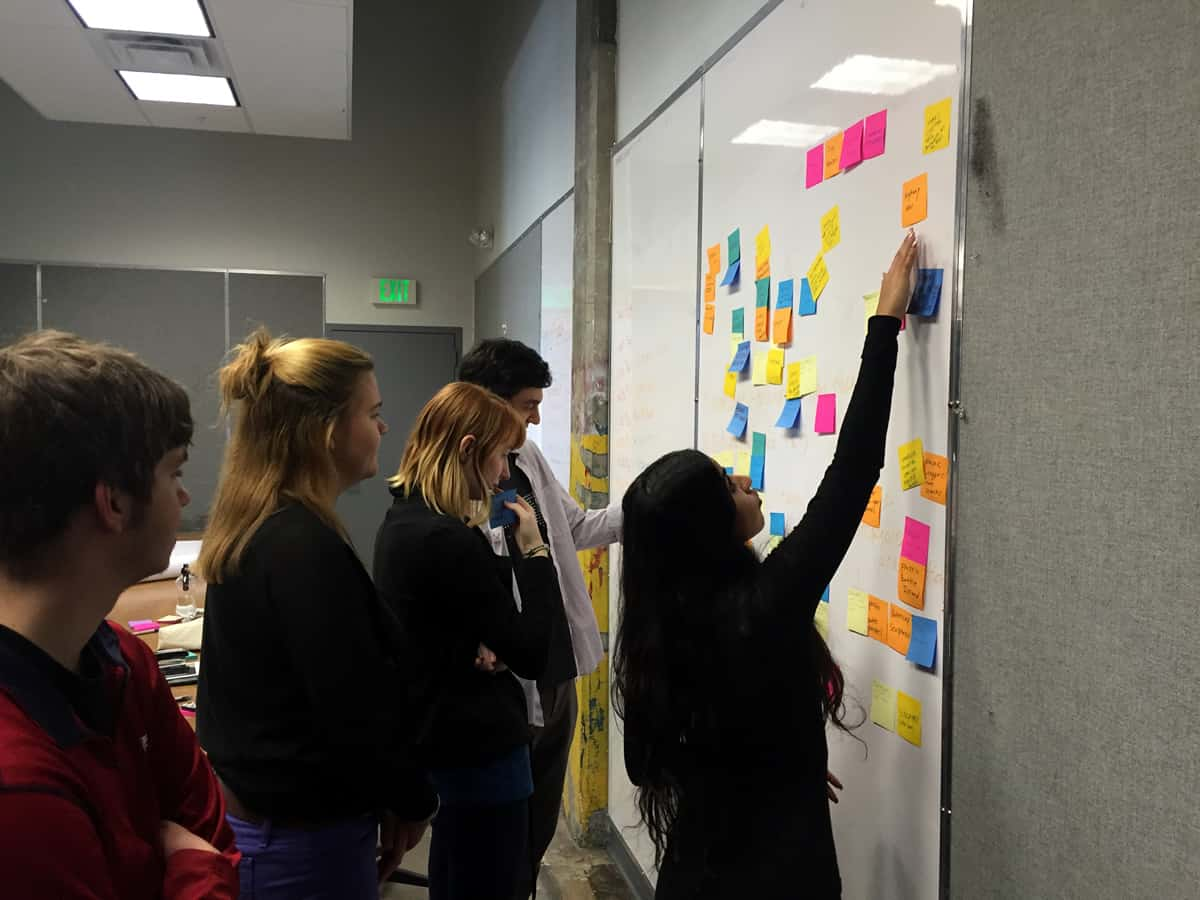 A photo of a group of people placing color-coded post-its on a whiteboard.