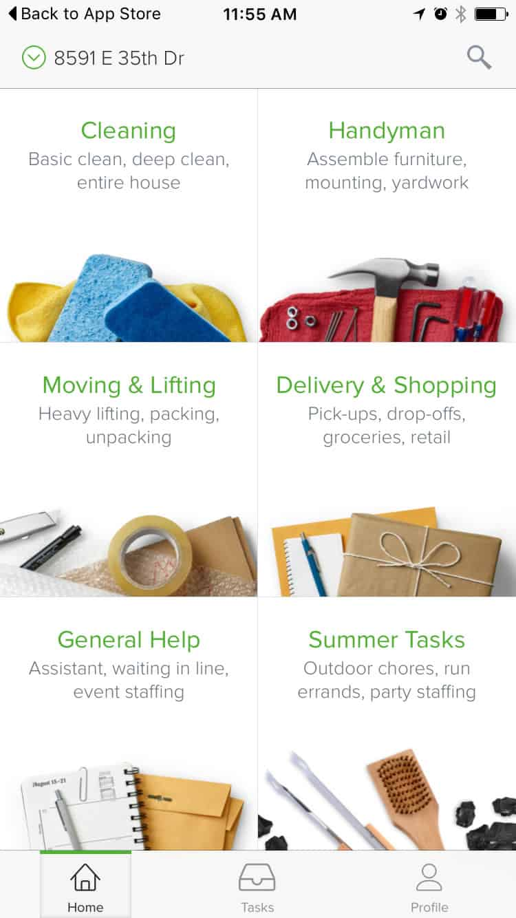 Image of the home page for TaskRabbit that lists tasks that can be done including moving, shopping and summer tasks.