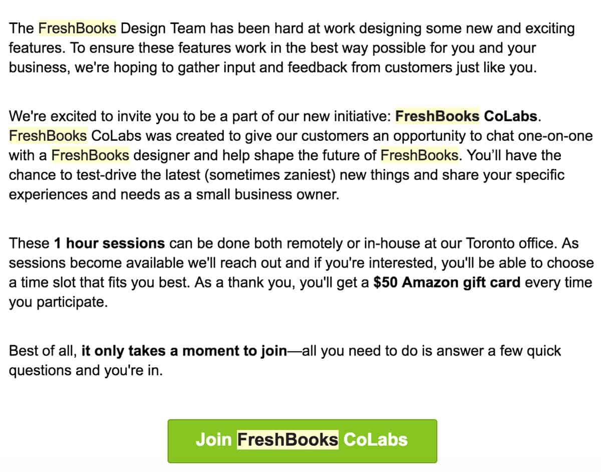Image of an email from Freshbooks inviting users to take part in a one-hour user research session for FreshBooks Co Labs. They are offering a $50 Amazon gift card