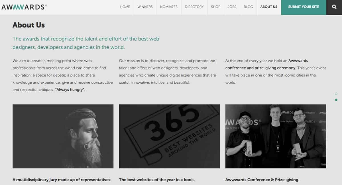 "A screenshot of the Awwwards ""About Us"" page of their website."