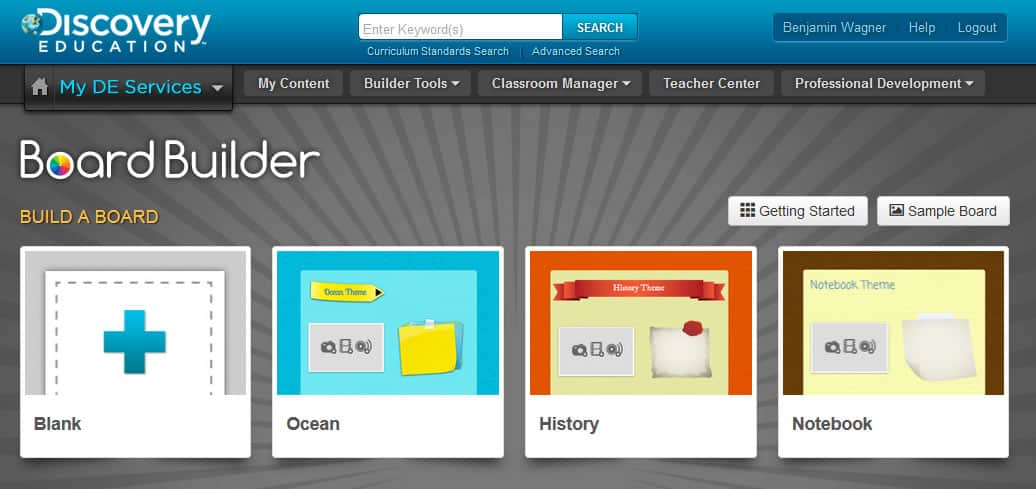 A photo of an example Board Builder account home page.