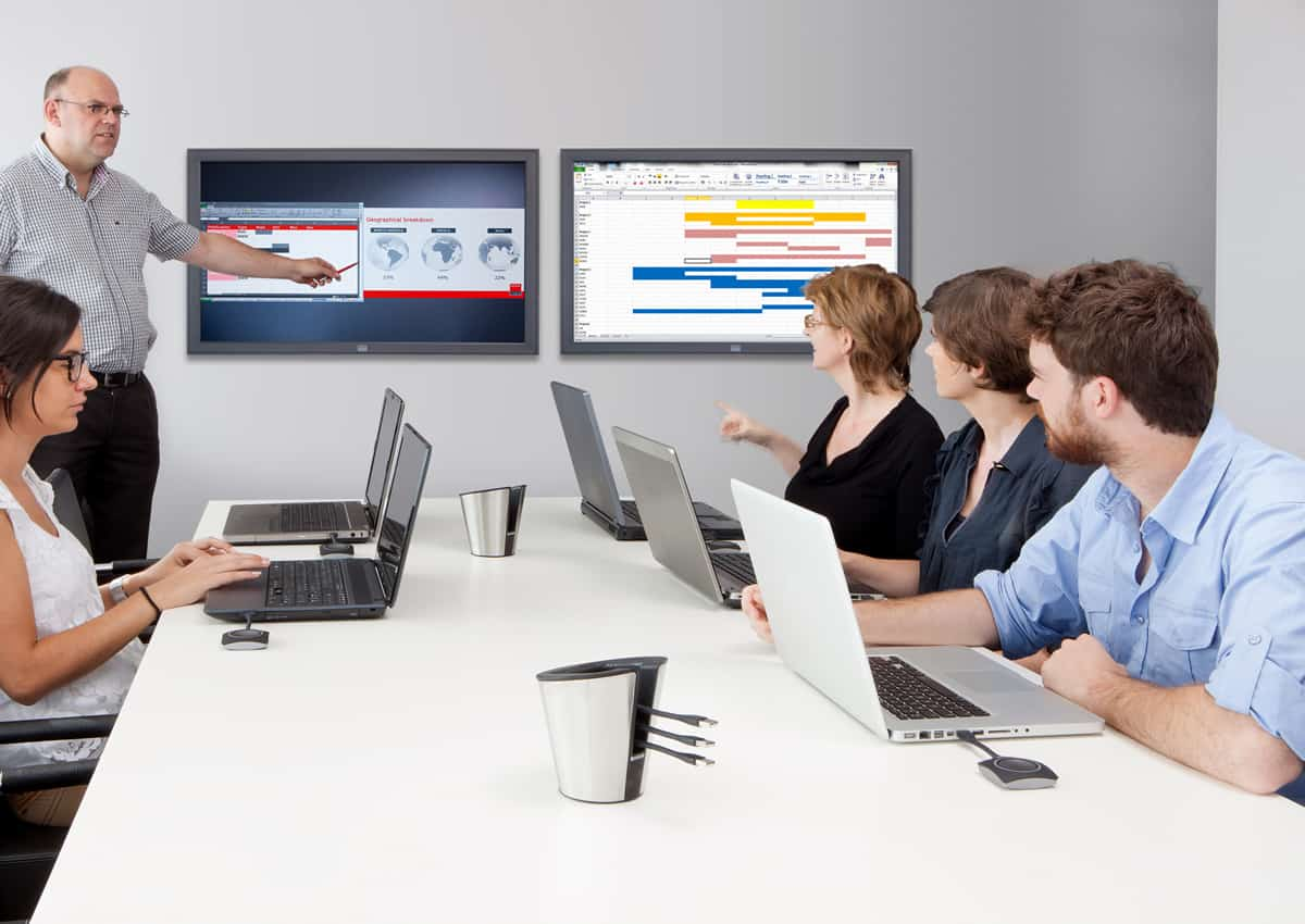 A photo of an example interactive classroom using Clickshare.