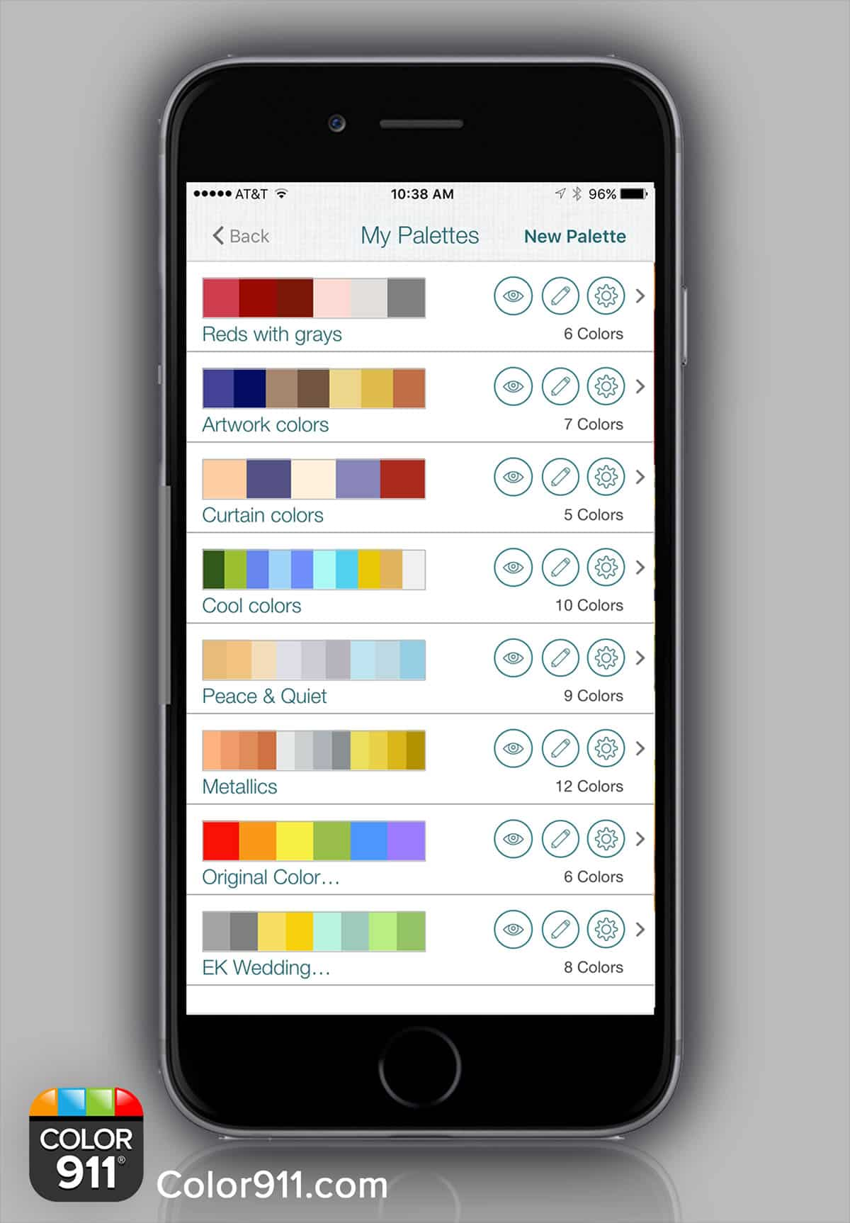 An image of the Color911 app on an iPhone displaying multiple color palettes.