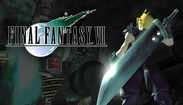 A photo of promotional art for Final Fantasy 7 featuring Cloud.
