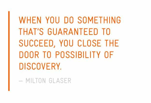 A photo of a Milton Glaser quote on a white background.