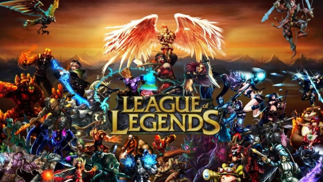 A photo of promotional art for League of Legends.