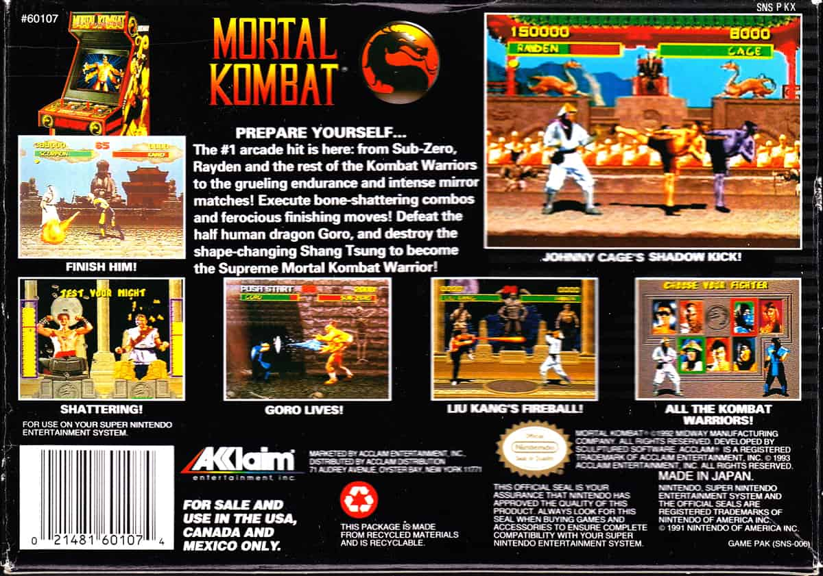 A photo of the back cover of the original Mortal Kombat game.